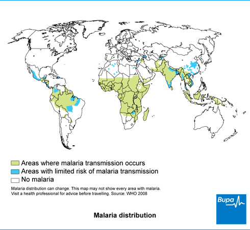 A map showing the distribution of malaria throughout the world