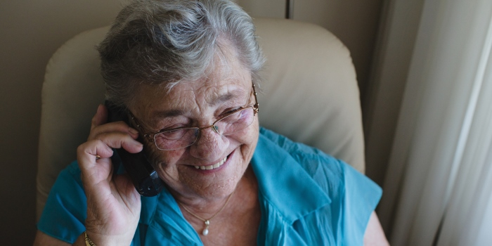 Picture of elderly woman on phone