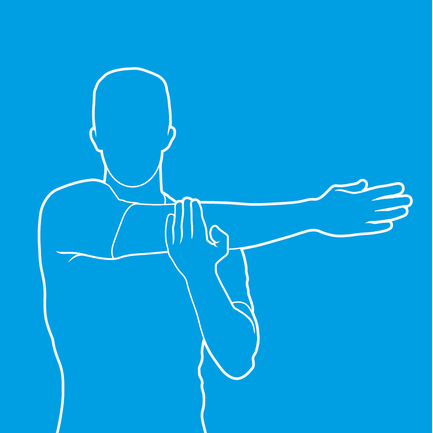An image of a person doing a posterior shoulder stretch